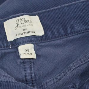 J Crew  Toothpick Corduroy Pants Women's  29X27